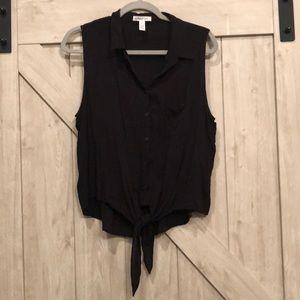 Black sleeveless button down tie front blouse